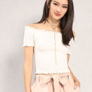 URBAN OUTFITTERS White Off-Shoulder Smock Crop Top